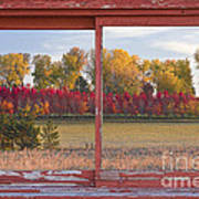 Rural Country Autumn Scenic Window View Poster