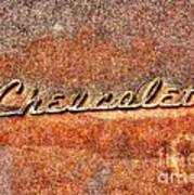 Rusted Antique Chevrolet Logo Poster