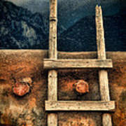 Rustic Ladder On Adobe House Poster