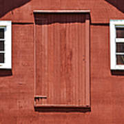 Rustic Red Barn Door With Two White Wood Windows Poster