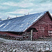 Rustic Red Winter Barn Poster