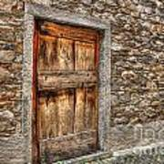 Rustic Stone House With Old Poster