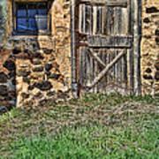 Rustic Wooden Door In Stone Barn Poster