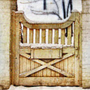 Rustic Wooden Gate In Snow Poster