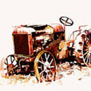 Rusty Tractor In The Snow Poster by Suni Roveto