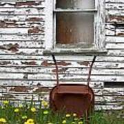 Rusty Wheelbarrow And Wildflowers Poster