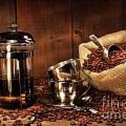Sack Of Coffee Beans With French Press Poster