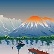 Sailboat Jetty  Mountains Retro Poster