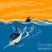 Sailfish Fish Jumping Retro Poster