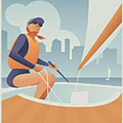 Sailing Lake Union In Seattle Poster