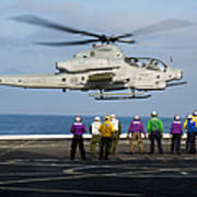 Sailors And Marines Watch An Ah-1z Poster