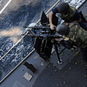 Sailors Fire A Dual-mounted M240 Poster