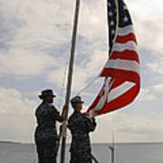 Sailors Raise The American Flag Aboard Poster