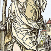 Saint Christopher Carrying Christ Child Poster by Sheila Terry
