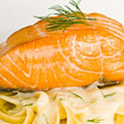 Salmon Steak On Pasta Decorated With Dill Closeup Poster