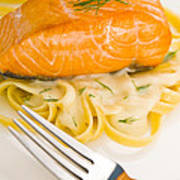 Salmon Steak On Pasta Decorated With Dill Poster
