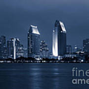 San Diego At Night Poster by Paul Velgos
