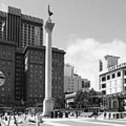 San Francisco - Union Square - 5d17933 - Black And White Poster by Wingsdomain Art and Photography