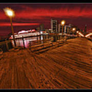 San Francisco Red Sky Pier Poster