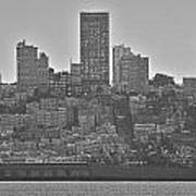 San Francisco Skyline-black And White Poster