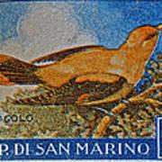 San Marino 1 Lire Stamp Poster