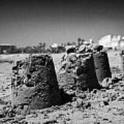 Sandcastles On Cyprus Tourist Organisation Municipal Beach In Larnaca Bay Republic Of Cyprus Europe Poster