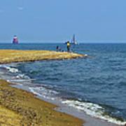 Sandy Point Fisherman Poster