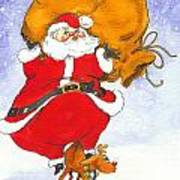 Santa And Rudolph Poster by Peggy Wilson