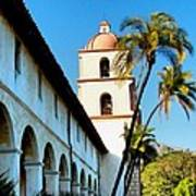 Santa Barbara Mission With Palm Trees Poster