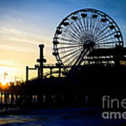 Santa Monica Pier Ferris Wheel Sunset Southern California Poster by Paul Velgos