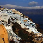 Santorini Cliff View Poster