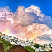 Santorini Sunrise Poster