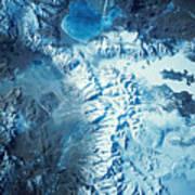Satellite Image Of A Mountain Range Poster