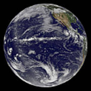 Satellite Image Of Earth Centered Poster by Stocktrek Images