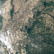 Satellite Image Of Flood Waters Poster
