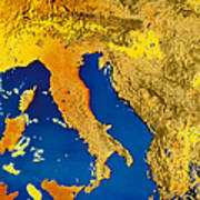 Satellite Image Of Italy Poster