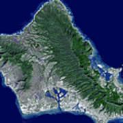 Satellite Image Of Oahu, Hawaii Poster