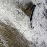 Satellite View Of Snow And Cold Poster