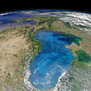 Satellite View Of Swirling Blue Poster