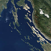Satellite View Of The Croatian Islands Poster