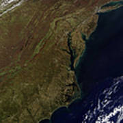 Satellite View Of The Mid-atlantic Poster