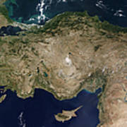 Satellite View Of Turkey And The Island Poster