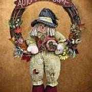 Scarecrow On Autumn Wreath Poster by Linda Phelps