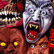Scary Halloween Masks Poster