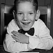 Schoolboy At Desk Poster