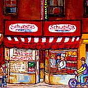 Schwartz's Deli-montreal Street Scenes-painting-by  Quebec Artist-carole Spandau Poster