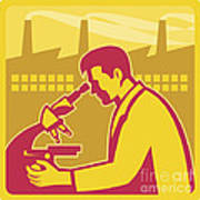Scientist Researcher Factory Building Retro Poster