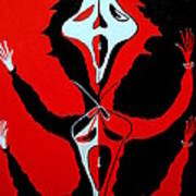 Scream In Black White And Red Poster