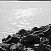 Sea Of Galilee In Black And White Poster