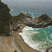 Seascape And Waterfall At Julia Pfeiffer Burns State Park Poster